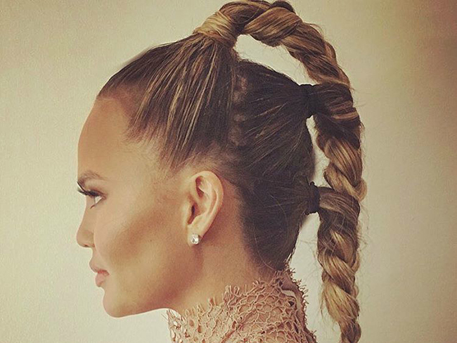 How to: Chrissy Teigen triple braided ponytail