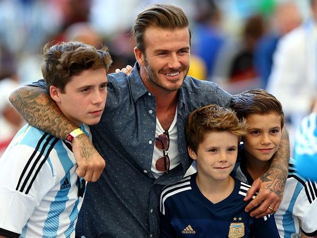 Brooklyn, David, Cruz and Romeo Beckham: soccer stars.