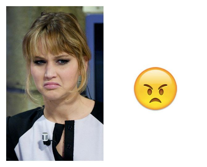 Although looks like J-Law might give Ansel a run for his money. She's no stranger to a funny face though, so it really could've been any emoji!