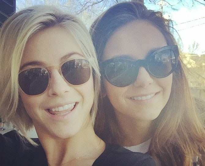 Julianne Hough gifted Nina Dobrev a gold necklace that spells 'Love' to celebrate their friendship. We think there's no better way to celebrate Valentine's Day when you're single than with your BFFs. Take a look at these other celebs for example…