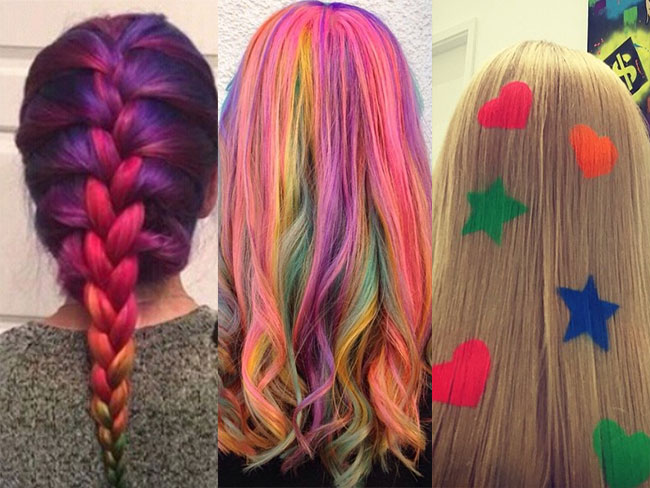 Rainbow hair is trending