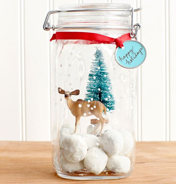 Cookie jar snow globe, you can turn any ordinary jar into a personalised holiday decoration. Learn to make them [here](http://www.countryliving.com/diy-crafts/tips/g645/crafty-christmas-presents-ideas/).
