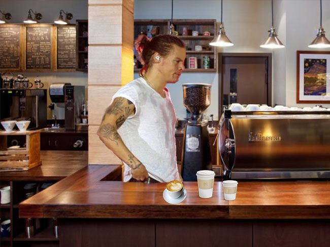 **Harry the barista**  Man bun? Check. Tattoos? Check. Ridiculously good-looking? Check. Harold the barista can whip us up a skim lattè any day.