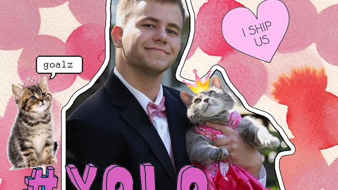 Guy takes cat to prom