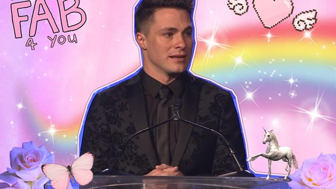 Colton Haynes accepts human rights award