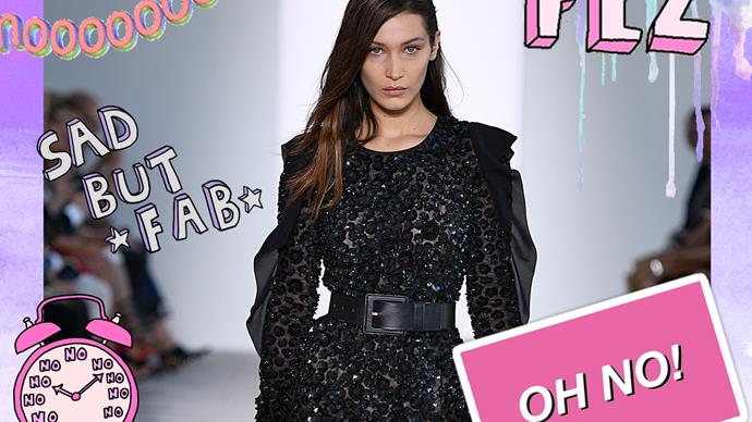 Bella Hadid trips  during Michael Kors show at NYFW