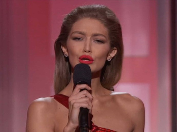 Gigi Hadid mocks Melania Trump while hosting the AMAs