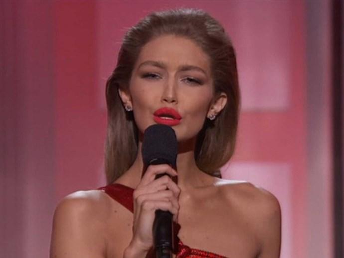 Gigi Hadid mocks Melania Trump while hosting the AMAs