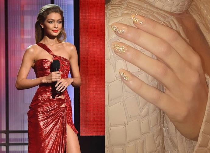 Gigi Hadid's Swarovski-encrusted AMAs manicure
