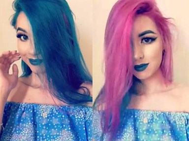 Watch this girls hair literally change colour right before your eyes