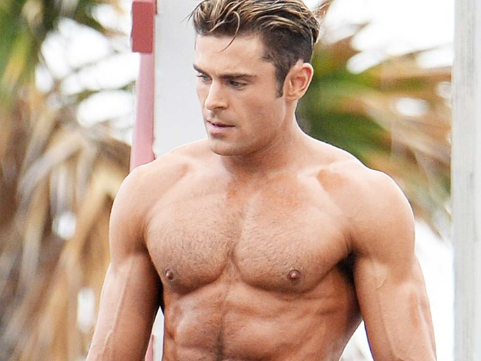 Zac Efron in the new Baywatch trailer topless making boob jokes
