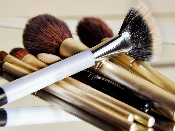 Zoomed in dirty makeup brushes