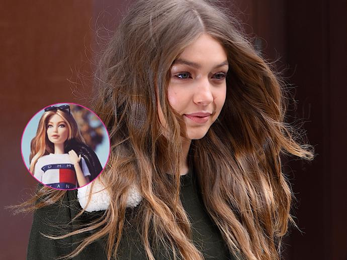 Gigi Hadid receives a Barbie doll from Mattel