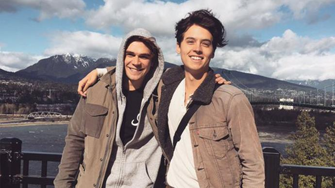 K.J. Apa and Cole Sprouse hang out