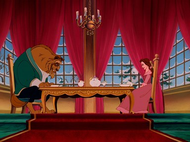 Watch the iconic 'Beauty and the Beast' scene where they cheers their dinner bowls