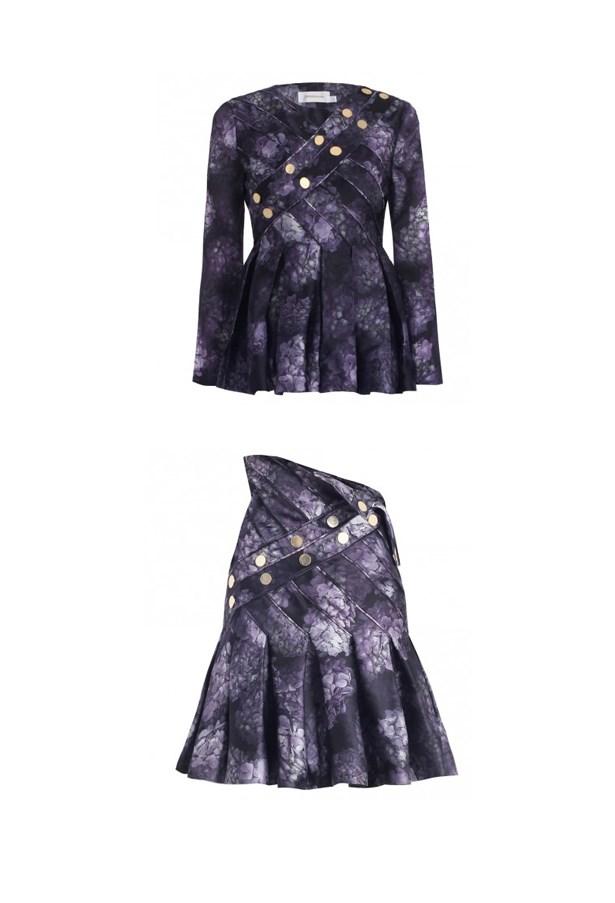 """Top, $850, Zimmermann, <a href=""""http://www.zimmermannwear.com/readytowear/clothing/tops/racer-hydrangea-stud-top.html"""">zimmermannwear.com </a> and skirt, $1,100, Zimmermann, zimmermannwear.com <a href=""""http://www.zimmermannwear.com/racer-hydrangea-stud-skirt-floral.html""""></a>"""