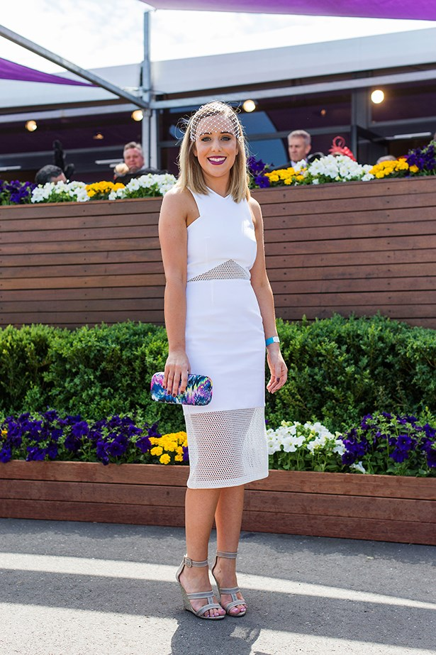 Sally Rogers at the Caulfield Guineas Day 2014 in Melbourne