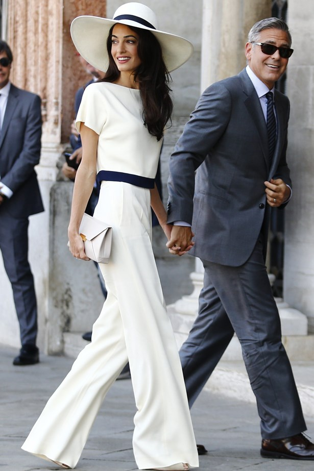 Amal Alamuddin chose a pair of cream Stella McCartney palazzo trousers with a matching tee to wear to her civil ceremony to wed George Clooney.
