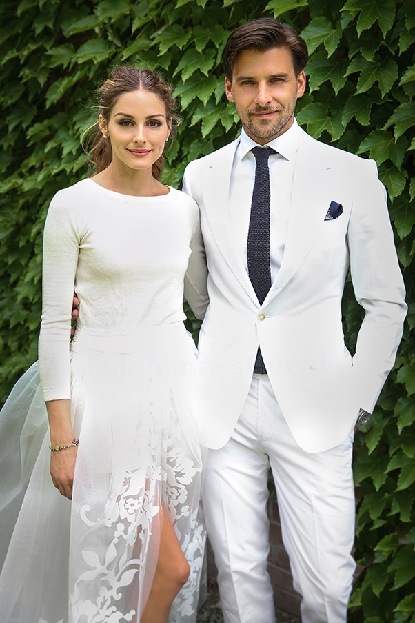 """Olivia Palermo (pleasantly) surprised us all with this low-key but chic ensemble <a href=""""http://www.elle.com.au/news/fashion-news/2014/9/olivia-palermo-and-johannes-huebl-worlds-most-stylish-coupleolivia-palermo-and-johannes-huebl-worlds-most-stylish-couple/"""">from Carolina Herrera</a>. A boatneck knit, shorts and organza overskirt made this an effortless bridal look."""