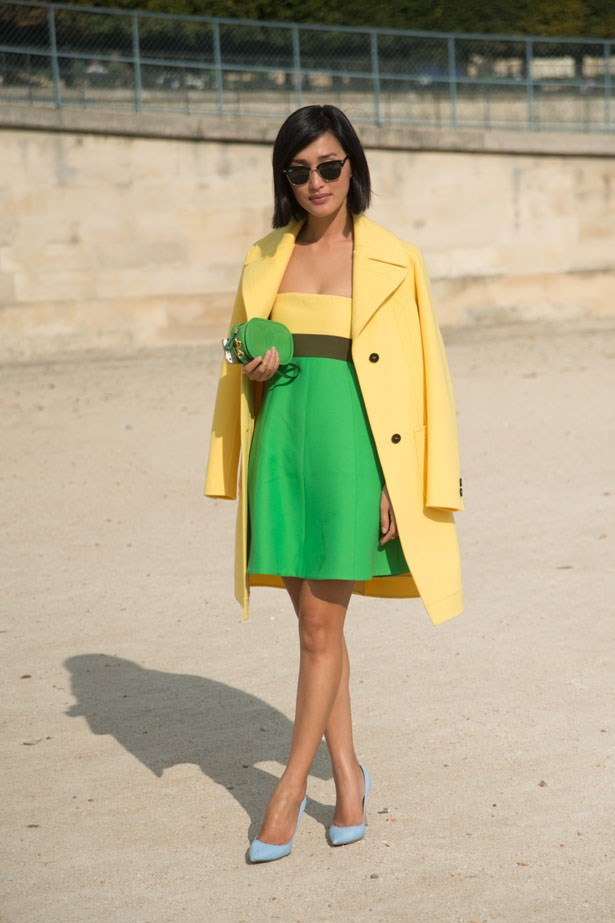 Another bright ensemble. This time, Ms Warne brought a little colour to Paris SS14 Fashion Week.