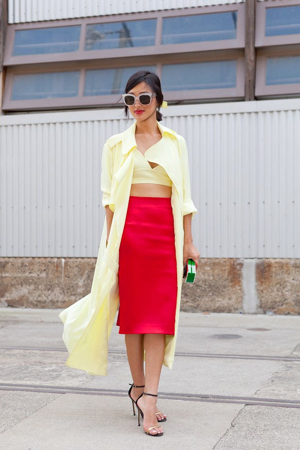 Bright colours and quirky accessories have become Nicole's sartorial calling cards, as seen here in Michael lo Sordo (jacket) and Toni Maticeveski (skirt) at Mercedes Benz Fashion Week Australia.