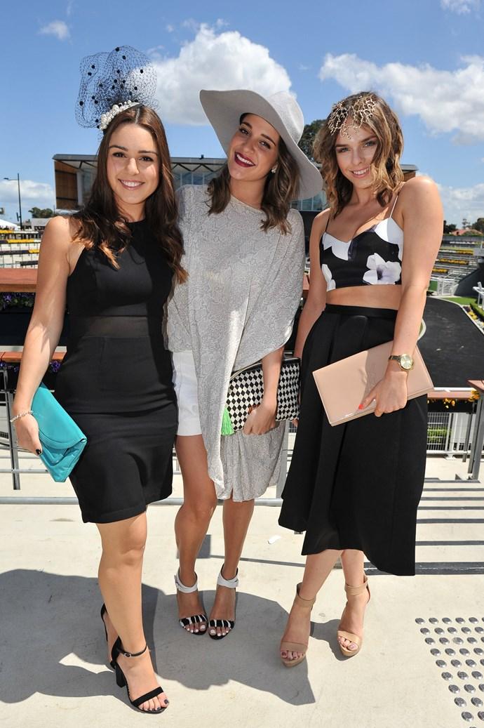 Jess Elgawly, Bianca Bucciarelli and Georgie-Barlow at the Sydney Tattersall's Club Cup Day