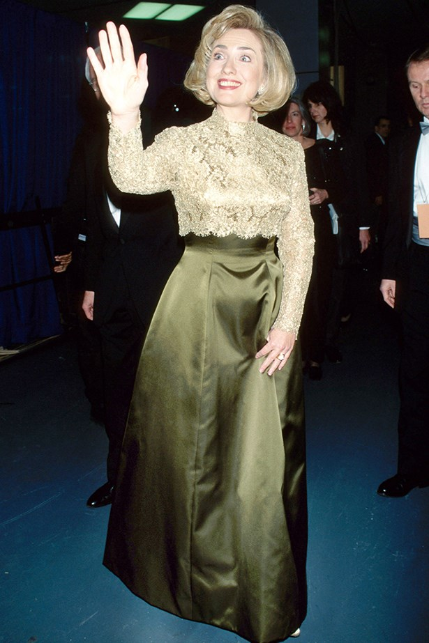 Hillary Clinton wearing an embellished Oscar de la Renta to the Grammy Awards, where she won the Grammy for Best Spoken Word Album, in 1997