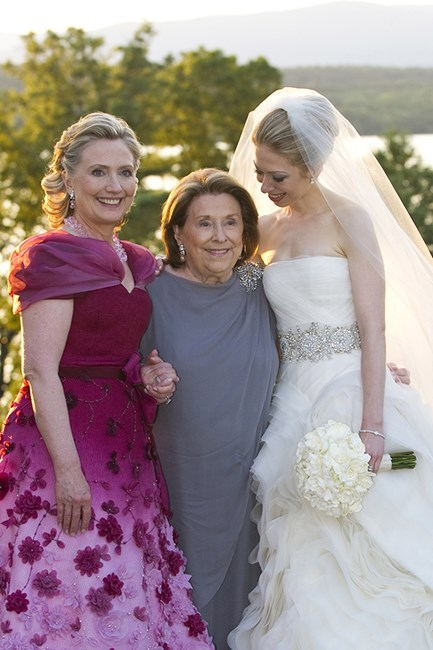 Hillary Clinton wearing Oscar de La Renta at her daughter's wedding