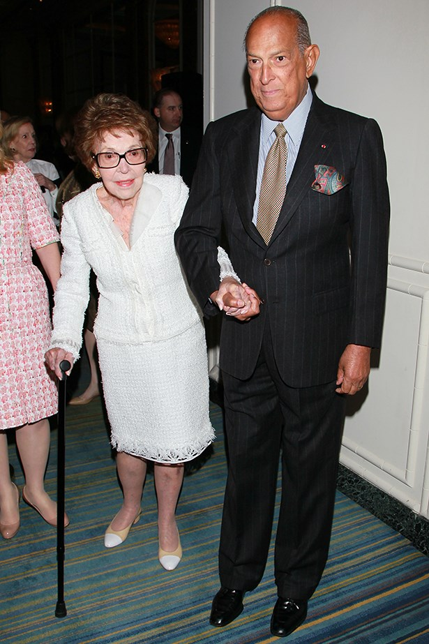 Nancy Reagan and Oscar de la Renta attend an event together in Beverley Hills in 2011