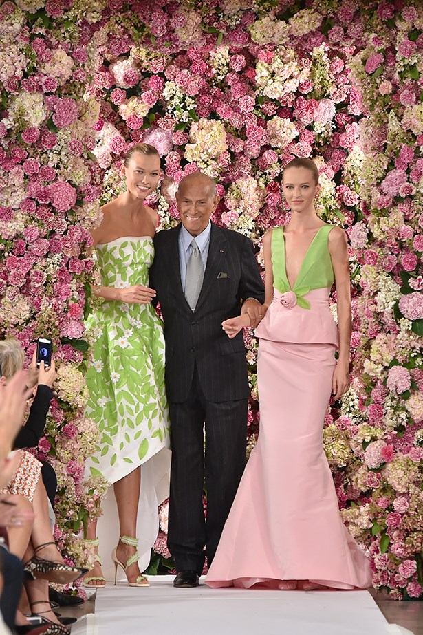 """The world lost one of the most extraordinary people that I have ever met. Thank you for helping me become the woman I am today and for always inspiring me to be better. There simply is no one else like you."" @karliekloss on Instagram <br><br> The super-model with designer Oscar de la Renta at his Spring/Summer 2015 show in New York"