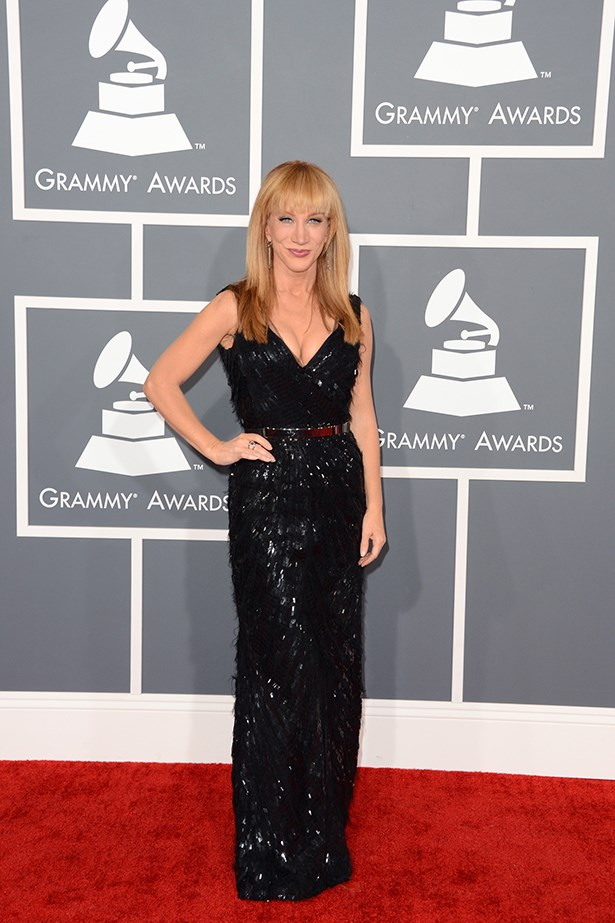 """He made this secret fashion girl's dreams come trye #OscarDeLaRenta."" @kathygriffin on Twitter <br><br> Comedian Kathy Griffin wears an Oscar de la Renta gown to the 55th Grammy Awards in 2013"