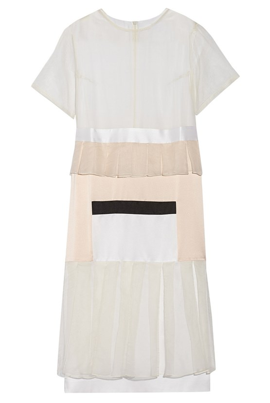 "Dress, $766, Karla Spetic, <a href=""http://www.net-a-porter.com/product/477670/Karla_Spetic/visions-paneled-silk-organza-and-satin-midi-dress"">net-a-porter.com</a>"