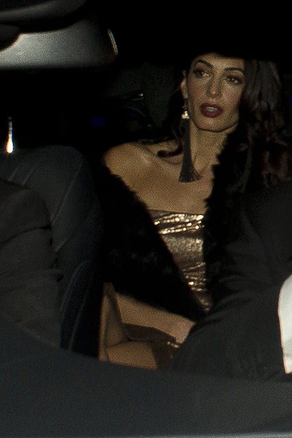 Amal goes gold in donna karan dress for second wedding for Donna karan wedding dresses