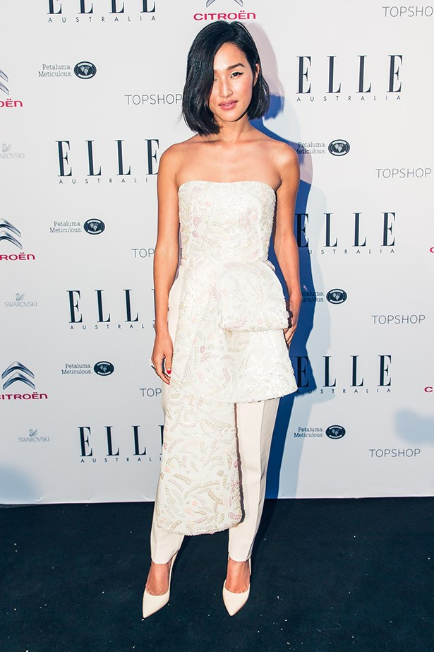 "Nicole choose this elegant ensemble from Toni Maticevski for <a href=""http://www.elle.com.au/elle-style-awards/news/2014/10/elle-style-awards-red-carpet-arrivals/"">the ELLE Style Awards</a>."