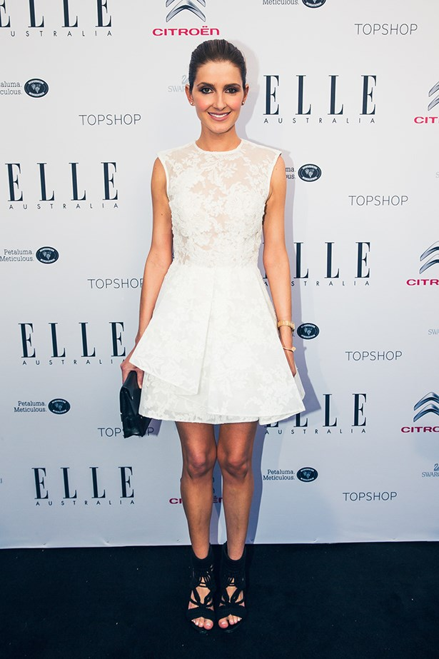 Kate Waterhouse wearing Alex Perry