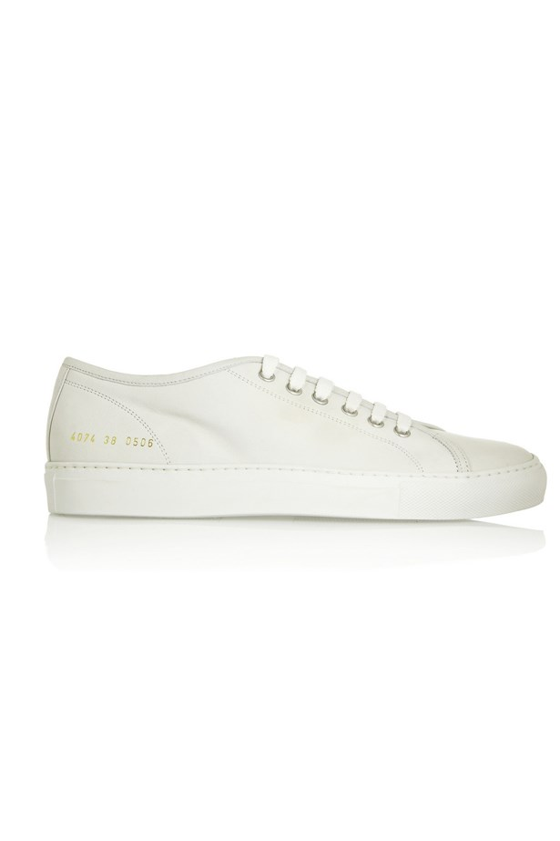 "Sneakers, approx $388, Common Projects, <a href=""http://www.net-a-porter.com/product/458856/Common_Projects/tournament-leather-sneakers"">netaporter.com</a>"