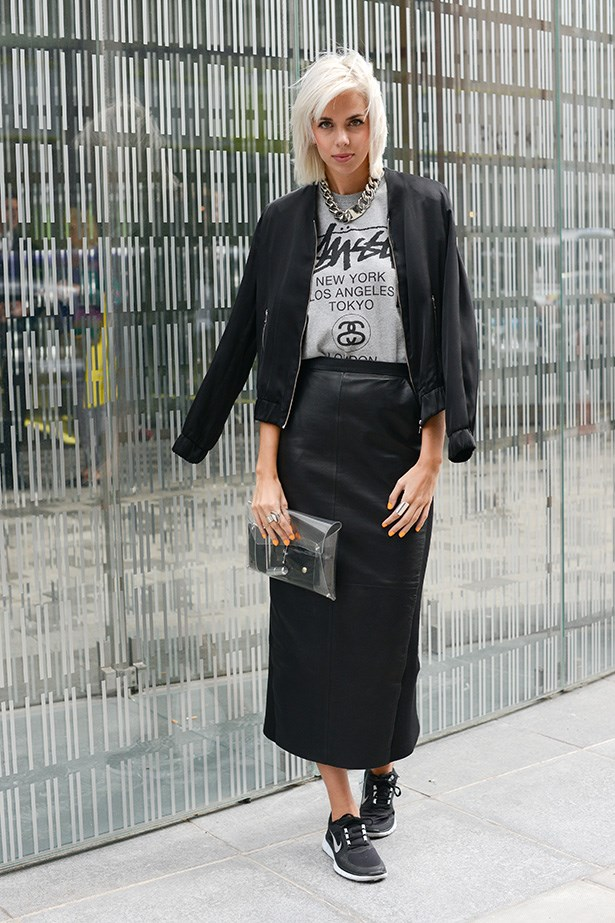 The trick to making a midi skirt work with a pair of sneakers? Stick to fail-safe black to keep it looking dressed up.