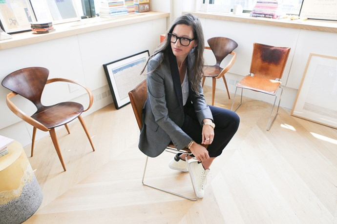 """Jenna Lyon's corner-view office at J.Crew's head office is light-filled and full of carefully curated objects d'art. <br><br> <em>Image courtesy of Into the Gloss<a href=""""http://intothegloss.com/2014/08/jenna-lyons-j-crew/""""></a></em>"""