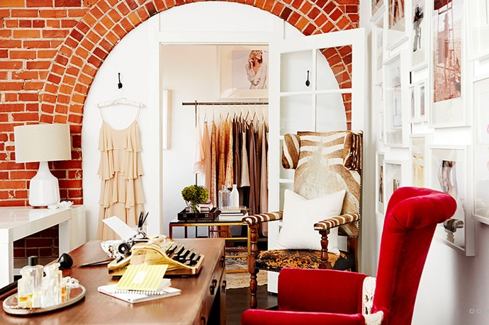 """Zebra print, velvet and exposed brick adds texture and interest to her Insta-worthy HQ. <br><br> <em>Image courtesy of <a href=""""http://www.domainehome.com/lauren-conrads-office-makeover-at-paper-crown/"""">domainehome.com</a></em>"""