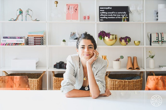 """Leandra Medine's NYC office is full of witty details and statement pieces (note the high-shine copper chairs). <br><br> <em>Image courtesy of <a href=""""https://www.homepolish.com/mag/the-new-man-repeller-office"""">Home Polish</a></em>"""