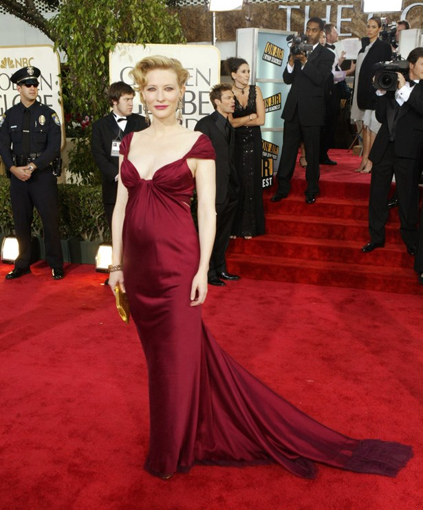 """It may have been from way back in 2004, but we still adore the bordeaux Donna Karan gown that <a href=""""http://www.elle.com.au/news/celebrity-news/2014/1/the-most-daring-looks-of-all-time-from-the-golden-globes/the-most-daring-looks-of-all-time-from-the-golden-globes-8/"""">Cate Blanchett wore to the 2004 Golden Globes</a>."""