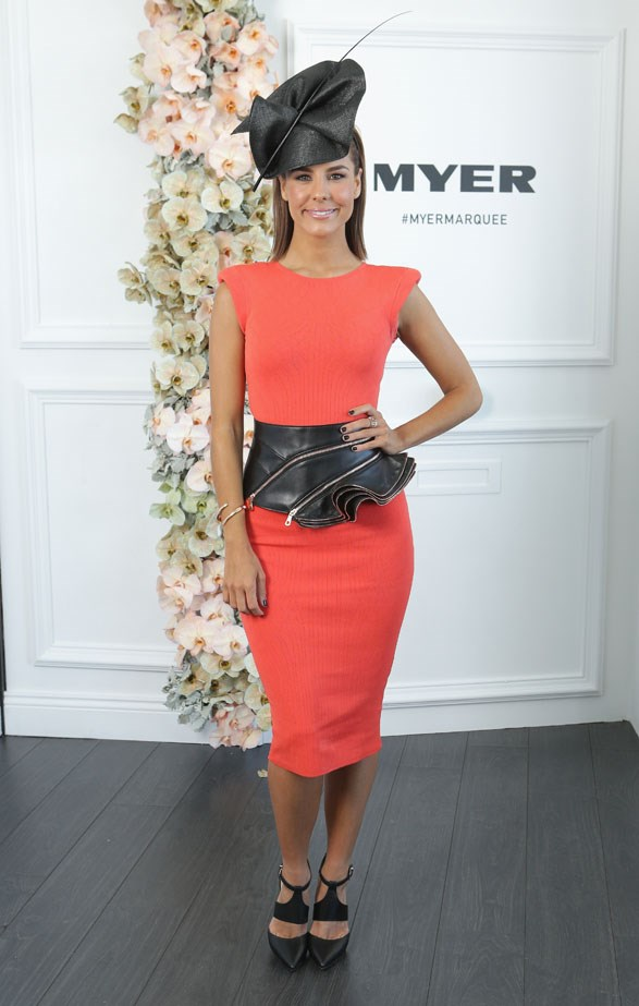Who: Lauren Phillips <br> Location: Inside the Myer Marquee in Melbourne <br> Event: Melbourne Cup 2014  <br>