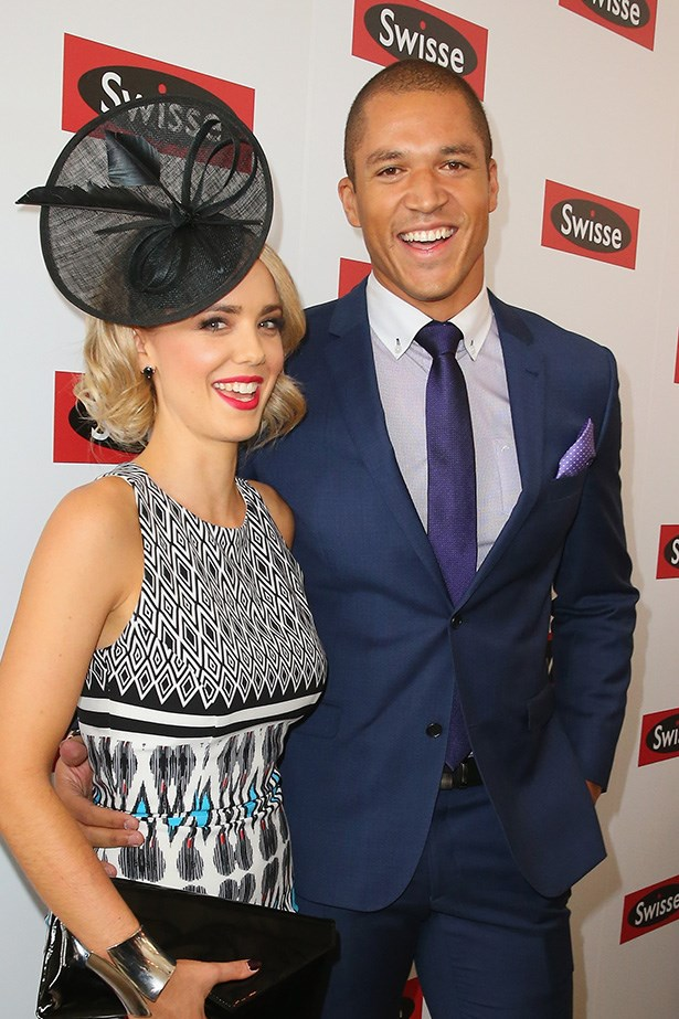 Who: Blake Garvey and Louise Pillidge<br> Location: Inside the Swisse marquee at Melbourne <br> Event: Melbourne Cup 2014 <br>