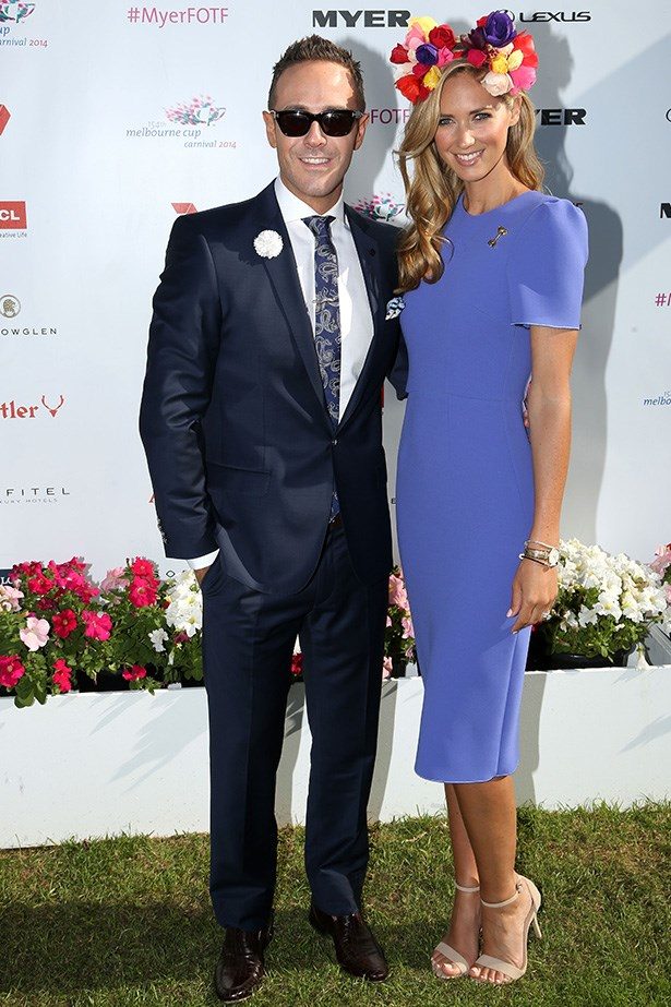Who: Donny Galella and Nikki Phillips<br> Location: Inside the Swisse marquee at Melbourne <br> Event: Melbourne Cup 2014 <br>