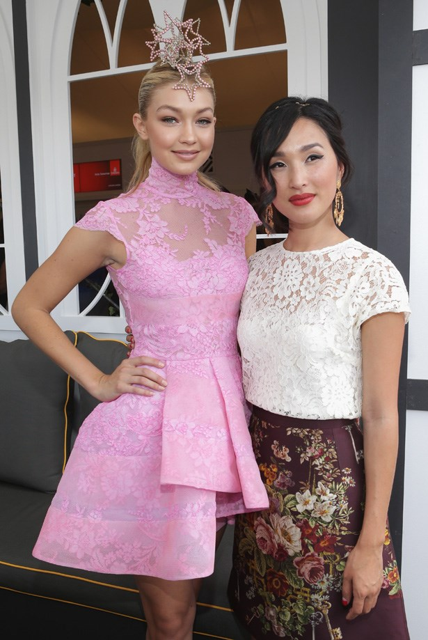 Who: Gigi Hadid and Nicole Warne <br> Location: Melbourne <br> Event: Melbourne Cup 2014 <br>