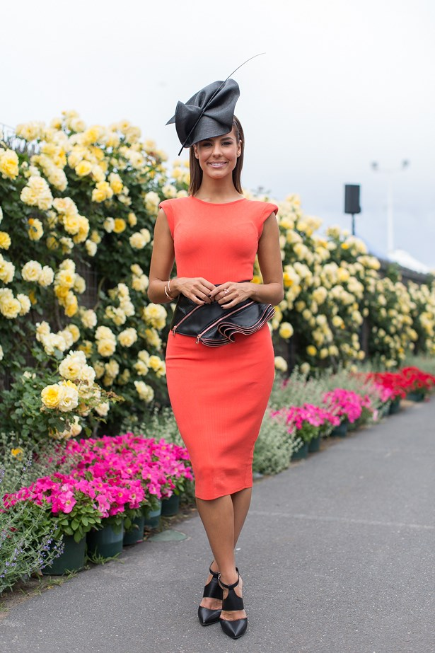 Name: Lauren Phillips<br> Event: Melbourne Cup 2014 <br> Wearing: Arthur Galan AG dress <br> Location: Melbourne
