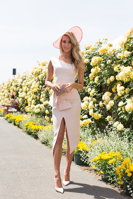 Jen Hawkins at Crown Oaks Day 2014 in Melbourne