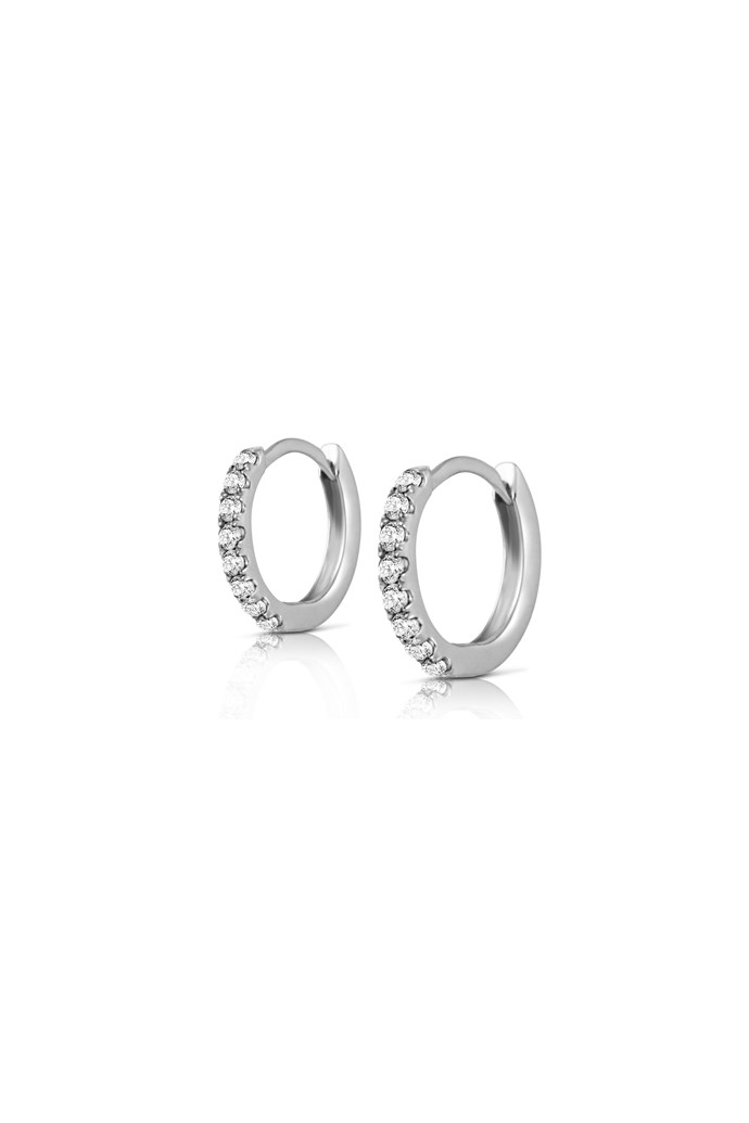 "Earrings, $355, Claire Aristides, <a href=""http://www.aristidesfinejewels.com"">aristidesfinejewels.com</a>"