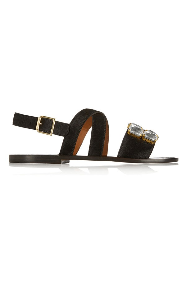 "Sandal, $432, Marni, <a href=""http://www.net-a-porter.com/product/456017/Marni/embellished-calf-hair-and-leather-sandals"">net-a-porter.com</a>"