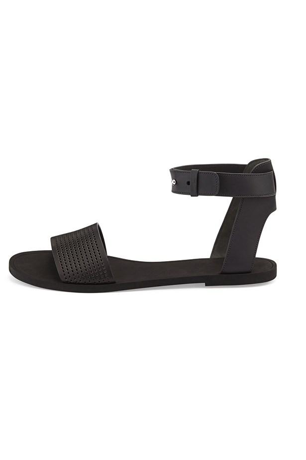 """Sandals, $184, Vince Sawyer, <a href=""""http://www.neimanmarcus.com/en-au/Vince-Sawyer-Leather-Ankle-Wrap-Sandal-Black-flat-sandal/prod175350061___/p.prod?icid=&searchType=MAIN&rte=%252Fsearch.jsp%253FN%253D0%2526Ntt%253Dflat%252Bsandal%2526_requestid%253D13231&eItemId=prod175350061&cmCat=search"""">neimanmarcus.com</a>"""
